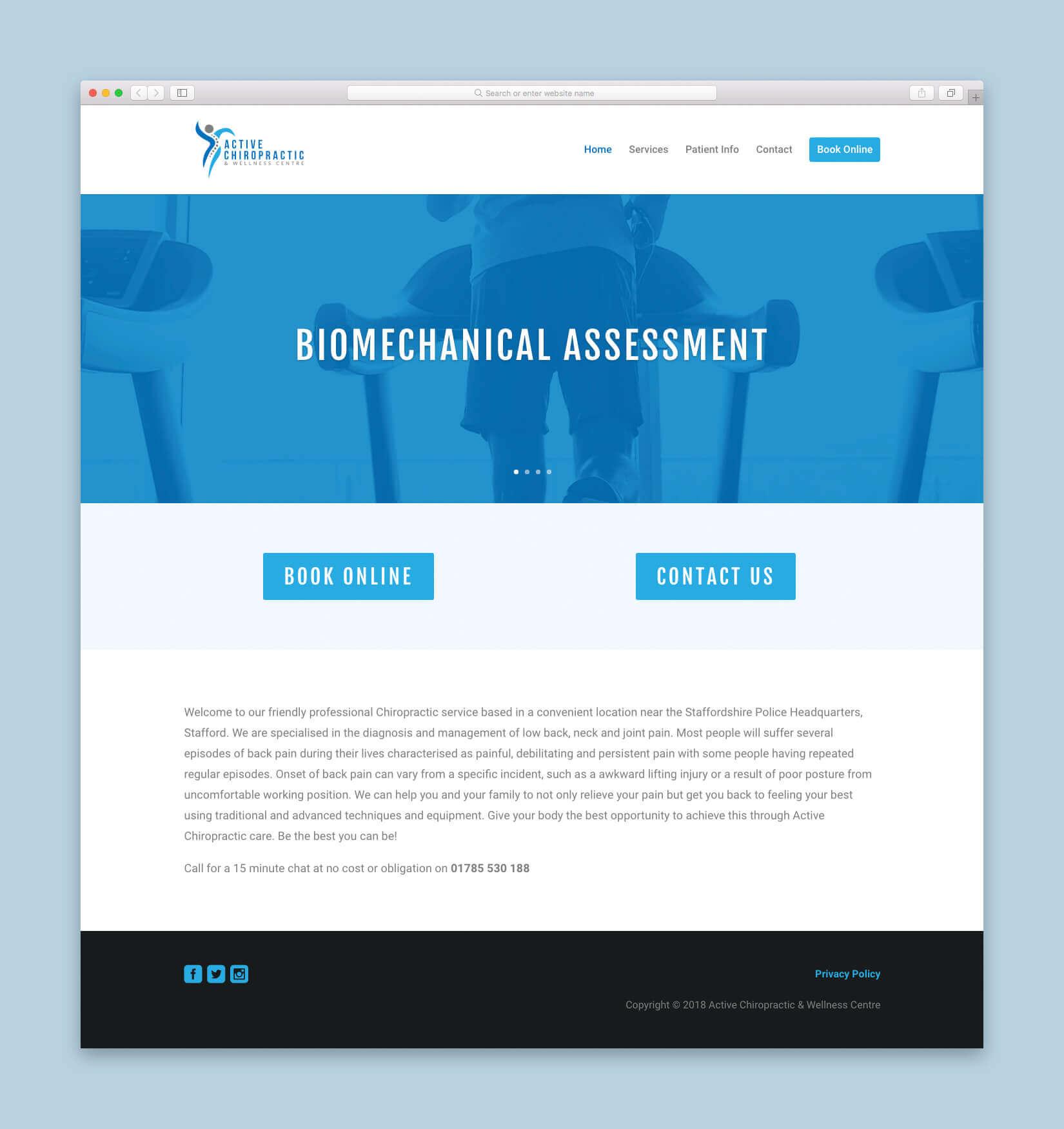 Active Chiropractic Website Homepage